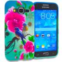 Samsung Galaxy Prevail LTE Core Prime G360P Blue Bird Pink Flower TPU Design Soft Rubber Case Cover Angle 1