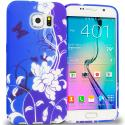 Samsung Galaxy S6 Edge Blue White Flower Butterfly TPU Design Soft Rubber Case Cover Angle 1