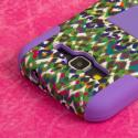 Samsung Galaxy Prevail LTE - Purple Leopard MPERO IMPACT X - Stand Case Angle 6