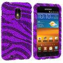Samsung Epic Touch 4G D710 Sprint Galaxy S2 Black / Purple Zebra Bling Rhinestone Case Cover Angle 1
