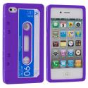 Apple iPhone 4 / 4S Purple Cassette Silicone Soft Skin Case Cover Angle 1