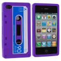 Apple iPhone 4 / 4S Purple Cassette Silicone Soft Skin Case Cover Angle 2