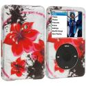 Apple iPod Classic Red Flower Hard Rubberized Design Case Cover Angle 1