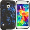 Samsung Galaxy S5 Black Blue Skull TPU Design Soft Case Cover Angle 1