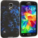 Samsung Galaxy S5 Black Blue Skull TPU Design Soft Case Cover Angle 2