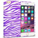 Apple iPhone 6 Plus Purple / White Zebra TPU Design Soft Rubber Case Cover Angle 1