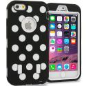 Apple iPhone 6 6S (4.7) Polka Dot White Hybrid Deluxe Hard/Soft Case Cover Angle 1