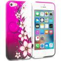 Apple iPhone 5/5S/SE Purple Silver Vine Flower TPU Design Soft Rubber Case Cover Angle 1
