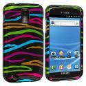 Samsung Hercules T989 T-Mobile Galaxy S2 Rainbow Zebra on Black Design Crystal Hard Case Cover Angle 1