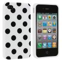 Apple iPhone 4 / 4S White / Black TPU Polka Dot Skin Case Cover Angle 2