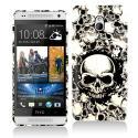 HTC One Mini Black White Skulls Hard Rubberized Design Case Cover Angle 1