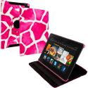 Amazon Kindle Fire HDX 7 Pink Giraffe 360 Rotating Leather Pouch Case Cover Stand Angle 1
