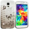 Samsung Galaxy S5 Black Butterfly TPU Design Soft Case Cover Angle 1
