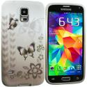 Samsung Galaxy S5 Black Butterfly TPU Design Soft Case Cover Angle 2