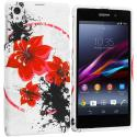 Sony Xperia Z1 Red Flower TPU Design Soft Case Cover Angle 1