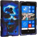 Nokia Lumia 521 Blue Skulls 2D Hard Rubberized Design Case Cover Angle 1