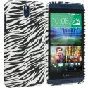 HTC Desire 610 Black White Zebra TPU Design Soft Rubber Case Cover Angle 1
