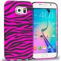 Samsung Galaxy S6 Black / Hot Pink Zebra TPU Design Soft Rubber Case Cover Angle 1