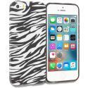 Apple iPhone 5/5S/SE Black/White Zebra TPU Design Soft Rubber Case Cover Angle 1