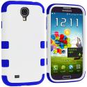 Samsung Galaxy S4 Blue / White Hybrid Tuff Hard/Soft 3-Piece Case Cover Angle 2