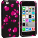 Apple iPhone 5C Raining Hearts Hard Rubberized Design Case Cover Angle 1