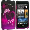 HTC Desire 601 Purple Love 2D Hard Rubberized Design Case Cover Angle 1