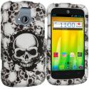 ZTE Radiant Black White Skulls 2D Hard Rubberized Design Case Cover Angle 1