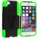 Apple iPhone 6 Plus 6S Plus (5.5) Black / Neon Green Hybrid Hard Soft Shockproof Case Cover with Kickstand Angle 2