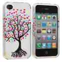 Apple iPhone 4 Love Tree Silver Design Crystal Hard Case Cover Angle 1