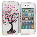 Apple iPhone 4 / 4S Love Tree Silver Design Crystal Hard Case Cover Angle 2