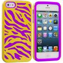 Apple iPhone 5/5S/SE Purple / Yellow Hybrid Zebra Hard/Soft Case Cover Angle 1
