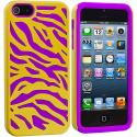 Apple iPhone 5/5S/SE Purple / Yellow Hybrid Zebra Hard/Soft Case Cover Angle 2