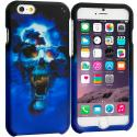 Apple iPhone 6 Plus 6S Plus (5.5) Blue Skulls 2D Hard Rubberized Design Case Cover Angle 1
