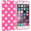 Apple iPhone 6 Plus 6S Plus (5.5) Hot Pink / White TPU Polka Dot Skin Case Cover Angle 1