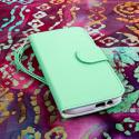 HTC One M8 M8 - Mint/ White MPERO FLEX FLIP Wallet Case Cover Angle 2