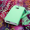HTC One M8 M8 - Mint/ White MPERO FLEX FLIP Wallet Case Cover Angle 3