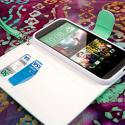 HTC One M8 M8 - Mint/ White MPERO FLEX FLIP Wallet Case Cover Angle 4