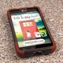 LG Optimus L90 - Sandstone / Gray MPERO IMPACT X - Kickstand Case Cover Angle 2