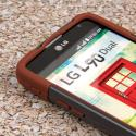 LG Optimus L90 - Sandstone / Gray MPERO IMPACT X - Kickstand Case Cover Angle 5