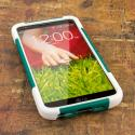 LG G2 - TEAL / WHITE MPERO IMPACT X - Kickstand Case Cover Angle 2
