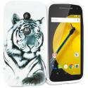Motorola Moto E White Tiger TPU Design Soft Rubber Case Cover Angle 1