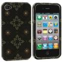 Apple iPhone 4 / 4S Silver Window Flower Design Crystal Hard Case Cover Angle 1