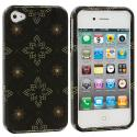 Apple iPhone 4 / 4S Silver Window Flower Design Crystal Hard Case Cover Angle 2