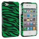 Apple iPhone 4 / 4S Green Zebra Hard Rubberized Design Case Cover Angle 2
