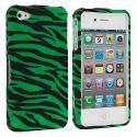Apple iPhone 4 Green Zebra Hard Rubberized Design Case Cover Angle 2