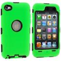 Apple iPod Touch 4th Generation Green Deluxe Hybrid Deluxe Hard/Soft Case Cover Angle 1