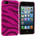 Apple iPhone 5/5S/SE Black / Hot Pink Zebra Bling Rhinestone Case Cover Angle 2