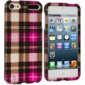Apple iPod Touch 5th Generation 5G 5 Hot Pink Checkered Hard Rubberized Design Case Cover Angle 1