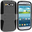 Samsung Galaxy S3 Black / Gray Hybrid Mesh Hard/Soft Case Cover with Stand Angle 2
