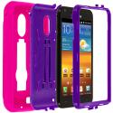 Samsung Epic Touch 4G D710 Sprint Galaxy S2 Hot Pink / Purple Hybrid Heavy Duty Hard/Soft Case Cover with Stand Angle 2
